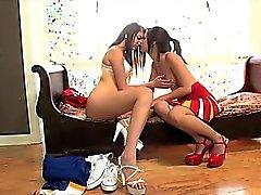 Lesbian cheerleaders munching on pussy