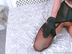 Blonde Sapphire Blue fingers pussy in open girdle and nylons