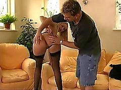 British slut Angel Long in a FMM threesome in black hold-ups