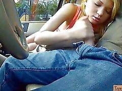 Tight teen Dakota Skye nailed in the car