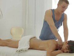 Masseuse fucks her young skinny cunt