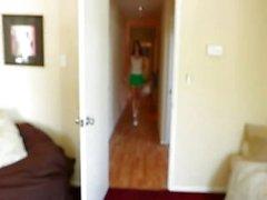 Hot-ass model Katie Jordan in mini skirt and