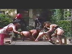 Kinky outdoor latex orgy