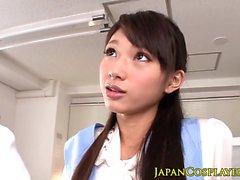 Japanese uniform babe jerking and sucking