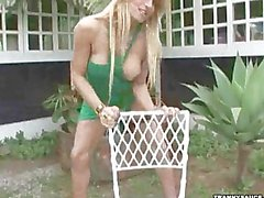 Kinky tranny whore stripping off her green dress