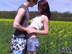 Kinky teenagers bang each other in the field