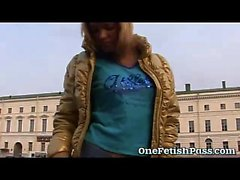 Hot Russian Jeans Miniskirt blonde