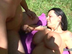 German Milf with Monster Tits get outdoor fucked by two boys