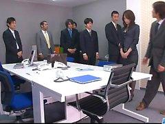 Office bimbo, Maki Hojo, plays with her fanny