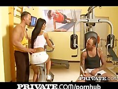 Private: Black Angelika gets DP in the gym