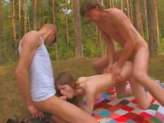 Amateur Irish threesome in the forest