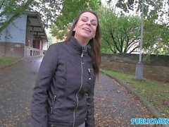 PublicAgent Hot brunette milf gets fucked hard for cash on car bonnet