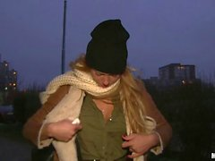 Hot Eurobabe banged in public for cash