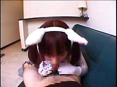 Saparopäinen Oriental bunny tarkoitettua maitovalmistetta kuohuvassa kiinni hänen lusc