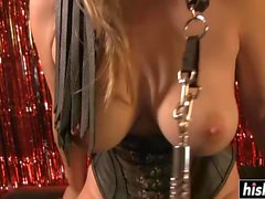 Busty sweetie has fun with sex toys