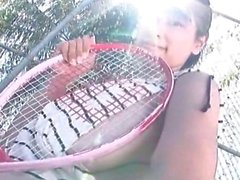 busty babe gets to show off her sweet tennis rack