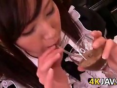 Japanese Maid Swallowing Cum
