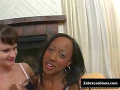 Zebra Girls - Ebony lesbian babes fuck deep strapon toys 15