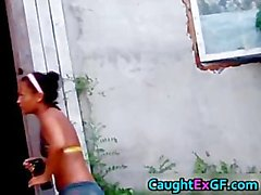 Gf enjoying outdoors stripping her thong part2