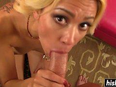 Blonde Mila satisfies a fat dick