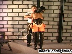 Horny bitch with nice pair of boobs enjoys in rough bondage