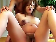 Asian preggo hairy pussy finger rubbed