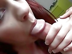 Cute redhead GF takes a dick in her butt
