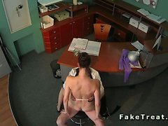 Doctor fucks sexy babe in waiting room on security cam