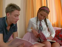 skinny schoolgirl juno gets naked for curious boy