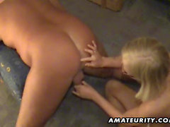 Blonde amateur girlfriend toys his ass and gives head