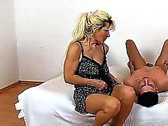 Pantyhose legs lady Maya cfnm and hairy twat facesitting