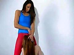 Lésbicas Cabeludo em makinglove calças de nylon