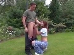Amateur Fucking Outdoors In Ripped Jeans