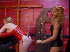 Blonde with huge bruised tits has her ass rolls whipped in bondage dungeon