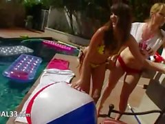 Great group ass fun by the pool