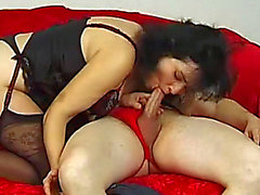 Hirsute aged brunette hair Stephanie Swing copulates in her head