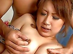 Gangbang delight for pleasing japanese hottie