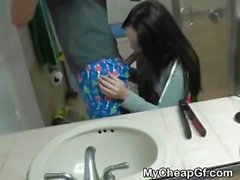 Brunette Amateur Ex Girlfriend Sucking Dick In Bathroom