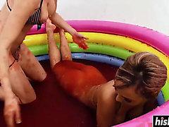 rameras Hawt encanta la piscina de jalea