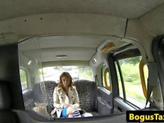 Ginger british taxi babe riding cabbies cock