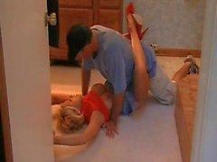 Blonde cougar banged in heels