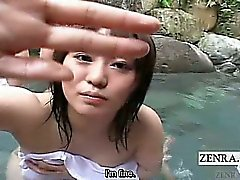 Subtitled outdoor Japan mixed bathing POV group handjob