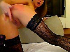Masturbating anal bitch uses toy