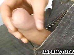 Japanese Stud Rubbing His Stiff Cock