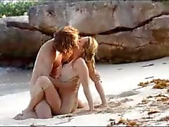 cute art sex of horny couple on beach