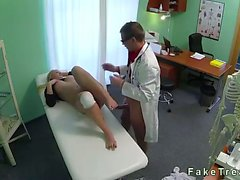 Wounded knee blonde fucked by doctor in fake hospital