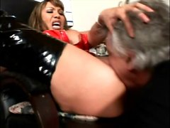 Big breasted Oriental milf in latex gets her holes licked and fingered