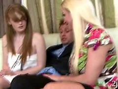 MILF and husband play with beautiful redhead teen