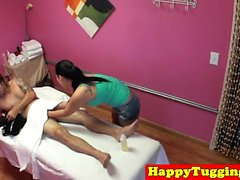 Busty asian masseuse sucking hard dick