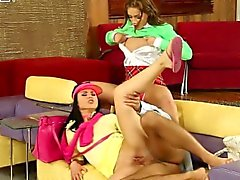 Classy golfing euro babes share cock